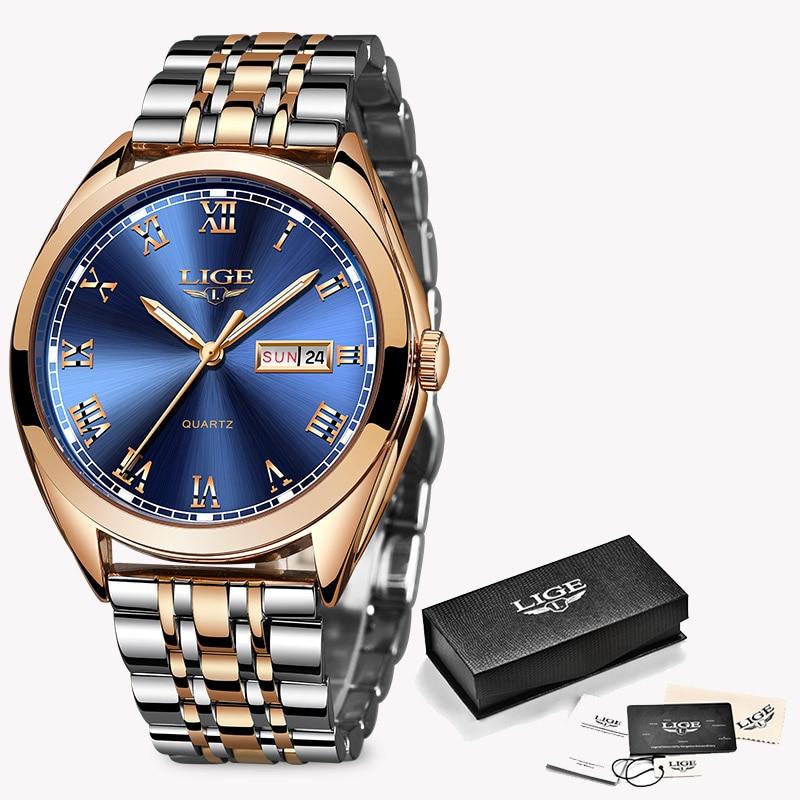 LIGE Fashion Women Watches Ladies Top Brand luxury Waterproof Gold Quartz Watch Women Stainless Steel Date Wear Gift Clock 2019 9