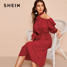SHEIN Polka Dot Print Ruffle Trim Cut Out Neck Sexy Dress Women Clothes 2019 Spring Glamorous Long Sleeve Belted Midi Dress недорого