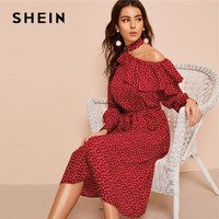 SHEIN Polka Dot Print Ruffle Trim Cut Out Neck Sexy Dress Women Clothes 2019 Spring Glamorous Long Sleeve Belted Midi Dress
