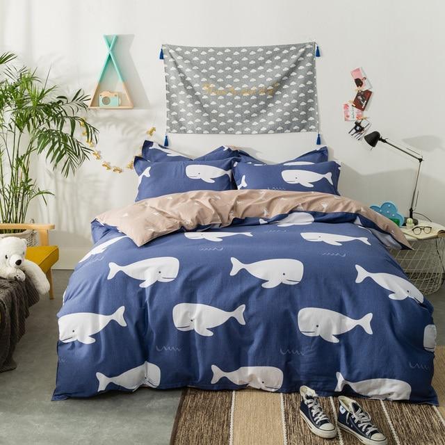 PAPA&MIMA bedding set white Shark dark blue duvet cover sets sheet ... : shark quilt cover - Adamdwight.com