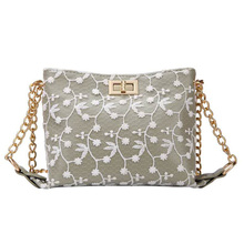 Fashion Lady Messenger Bag Lace Flower PU Leather Stitching Foreign Gas Wild Shoulder New Summer Chain Bags