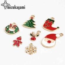 Zinc Alloy Enamel Christmas Snowflake Deer Snowman 10pcs/lot For DIY Fashion Earrings Jewelry Making Finding Accessories