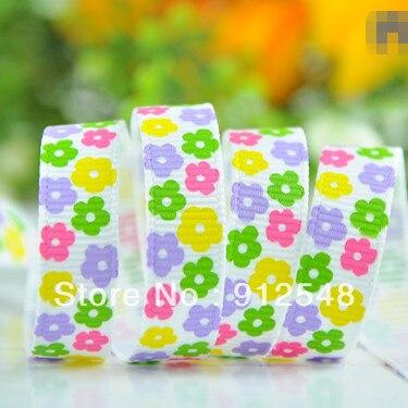 1 ''(25 мм) крашеный цветок напечатанная лента из полиэстера мультфильм лента аксессуар в стиле «haribow» подарочная упаковка, md71427