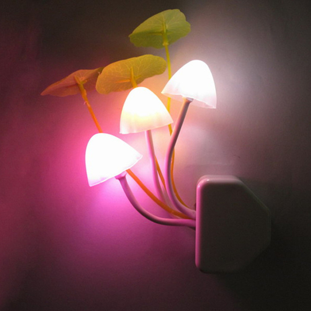 Mushroom Colorful Led Night Lights Photoswitchable Induction Novel Night  Lamps Baby Wall Lights AC110 220V