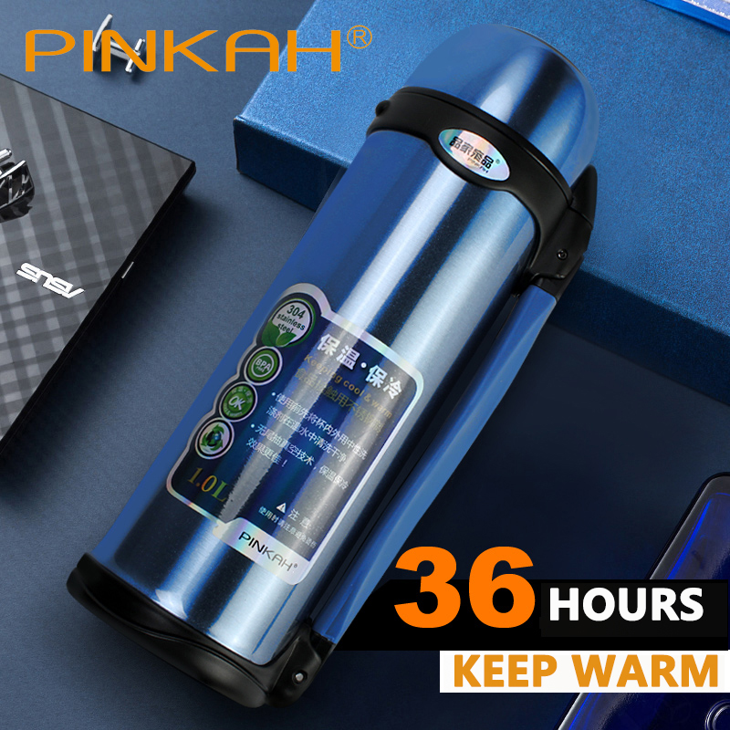 PINKAH Vacuum Flasks Thermoses Stainless Steel 1L High Capacity Outdoor Sport Travel Cup Thermos Drinking Water