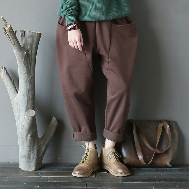 Johnature Women Fleece Pants Patchwork Vintage Trouser 2019 Winter New Casual Elastic Waist Pockets Brief Women Warm Harem Pants