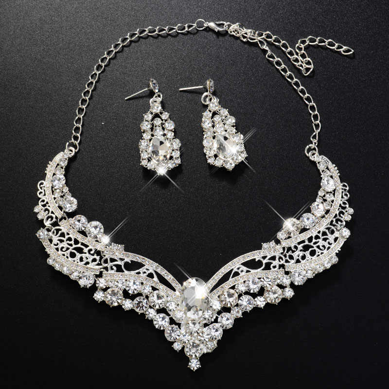 Romantic Luxury Classic Crystal Wedding Jewellery Set Bridal Jewelry for Women Nigerian Necklace Earrings Party Decoration Gift