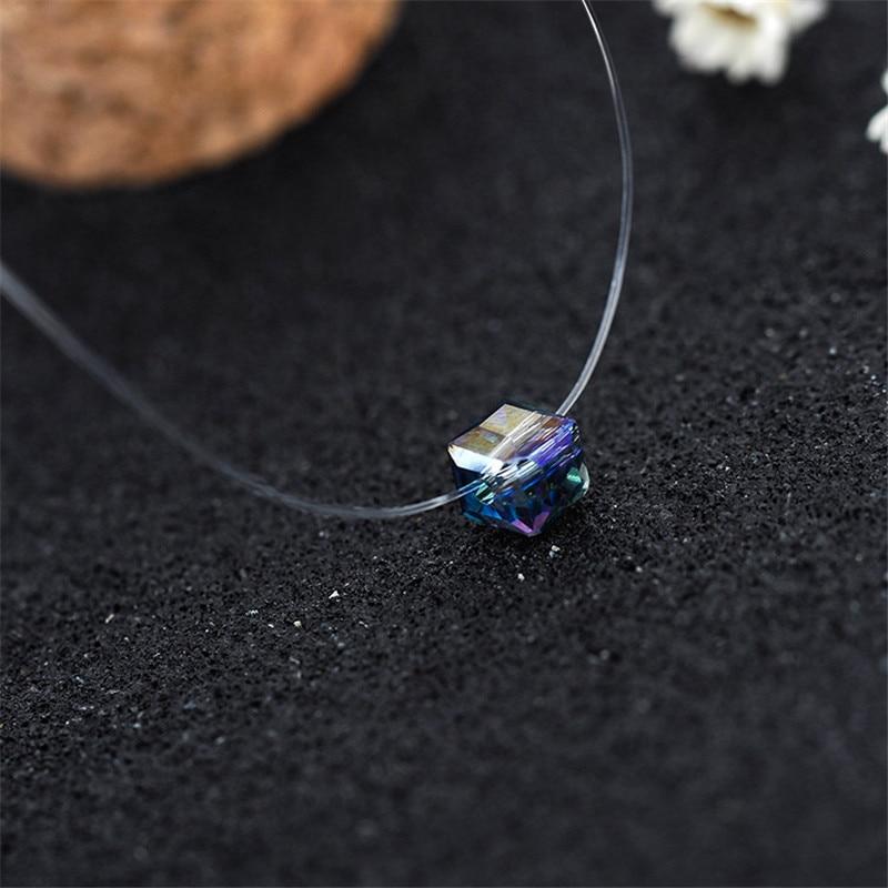Divat Fishing Line sorozat nyaklánc nőknek luxus lila kristály medál choker nyaklánc medve ékszerek