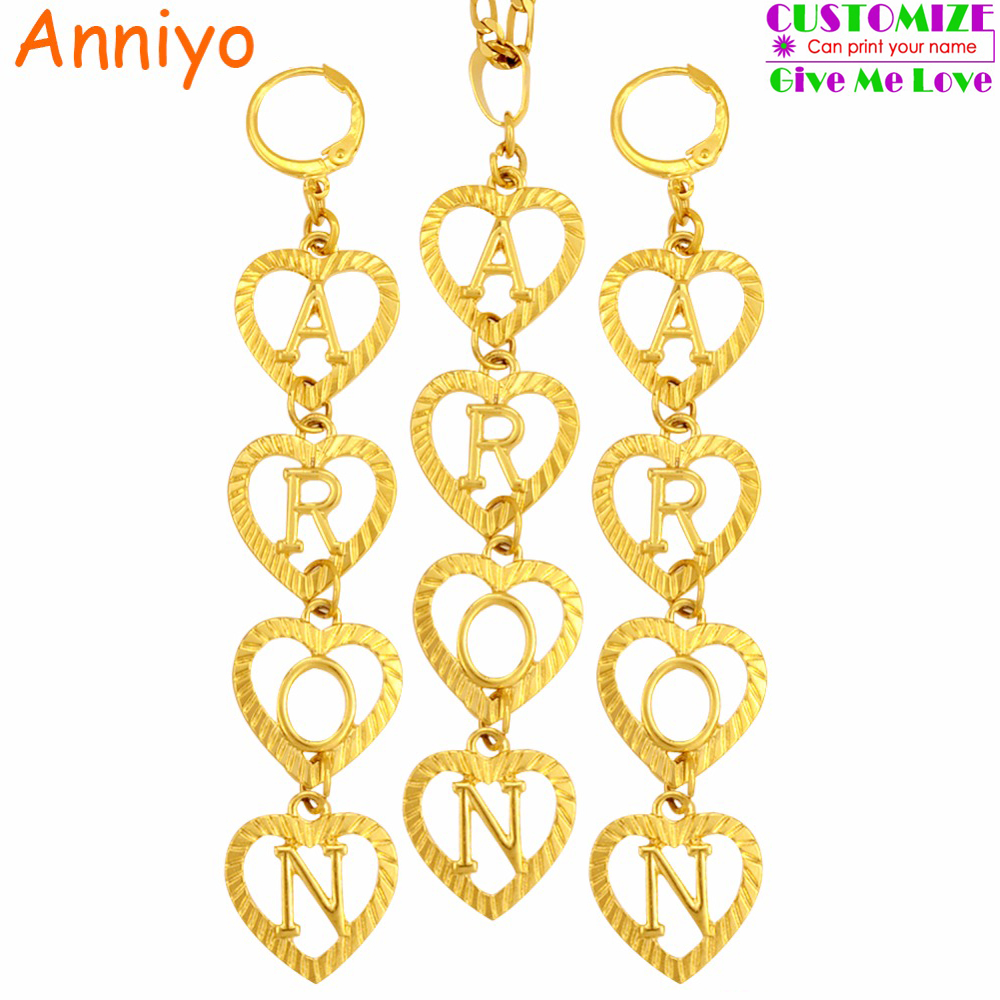 Anniyo Customise Letter Initial Necklace & Earrings Jewelry sets Women(Hanging 4 letters,Tell me what name do you want) #104606 customise
