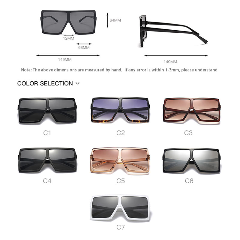 Big Frame Gradient Shades Oversized Sunglasses Square Brand Designer Vintage Women Fashion Sun Glasses Oculos De