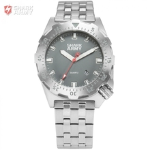 SHARK ARMY Grey 100m Waterproof Auto Date Full Stainless Steel Band Analog Strap Outdoor Sport Men