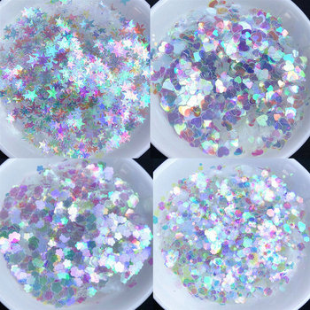 10g Ultrathin Heart Round Symphony Sequins Resin Jewelry Stuff Size Mix AB Nail Glitter Flakes Star Round Holographic Decor
