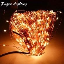 Купить с кэшбэком 50M 165Ft 500 Leds Copper Wire Warm White White LED String Light Starry Lights + Power Adapter (US EU AU Plug)