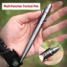 Multi Funzione Tactical Pen Self Defense Interruttore di Vetro Outdoor EDC Strumento Penna Testa In Acciaio Al Tungsteno Bullone Interruttore Contenitore di Regalo