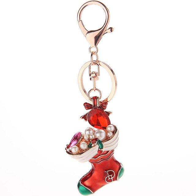 Christmas Gift Keychain Women s Keyrings Car Keychain Rhinestone Red  Christmas Shoe Keyring Jewelry 65fd5b4611
