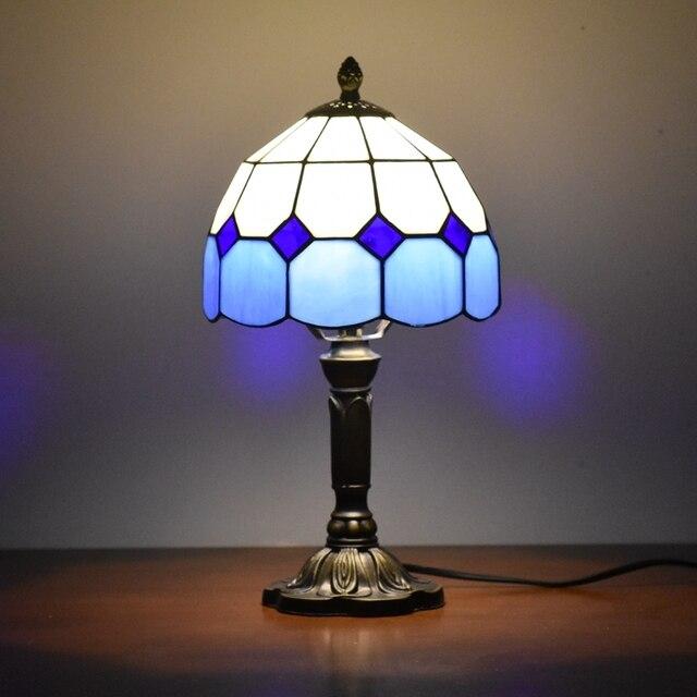 Tiffany Table Lamps Accent 8 Inches Desk Blue Original Antique Glass
