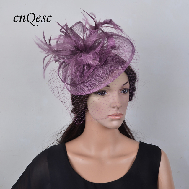 5679a5b265104 Wholesale Elegant NEW Purple Sinamay Fascinator bridal top hat with  feathers birdcage veil for wedding
