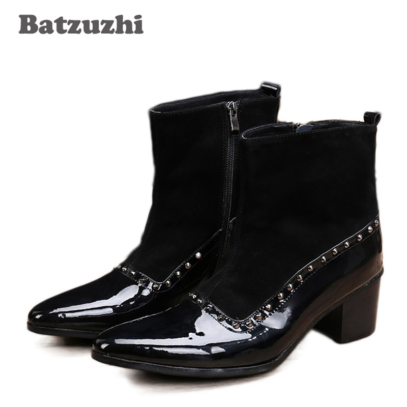 Batzuzhi 6.8cm Heels Men Short Boots Western Style Black Leather Boots Men Pointed Toe Height Increased for Men Party, EU38-46