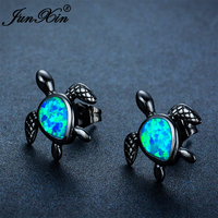 JUNXIN Fashion Female Small Turtle Earring Blue Fire Opal Stud Earring Black Gold Filled Jewelry Double