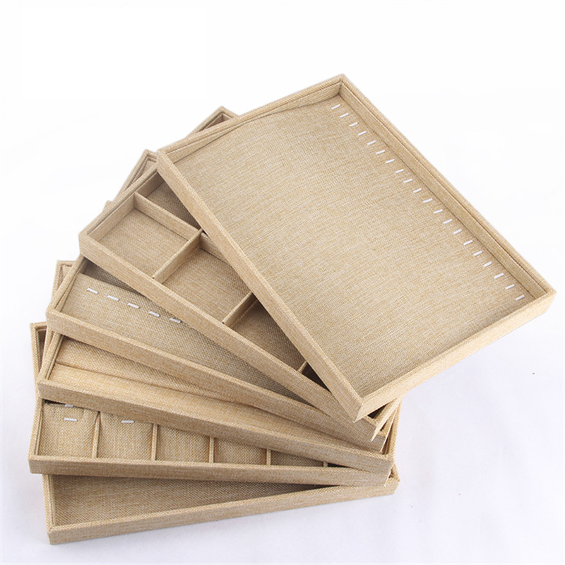 350 240 40mm Beige Sackcloth Stackable Jewelry Tray