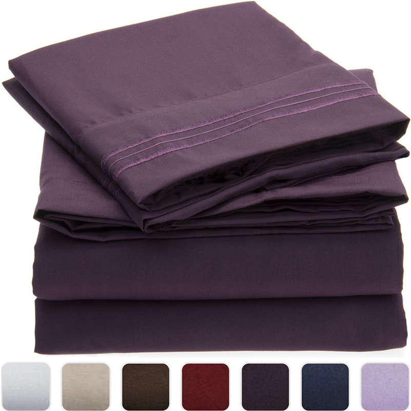 High Quality Modern Solid Color Comfortable Polyester Cotton Bed Set Deep Pocket Bed Sheet Pillowcase