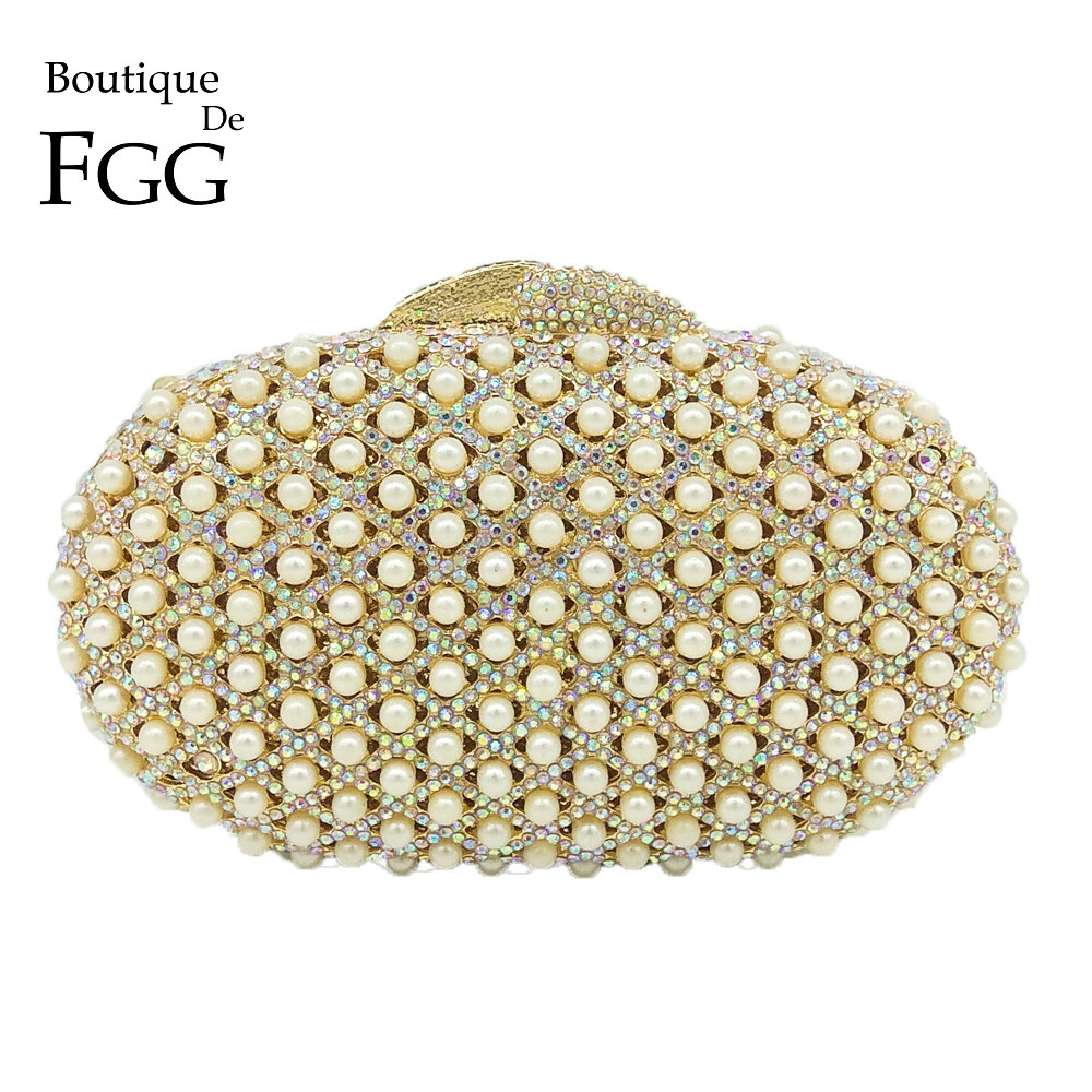 Boutique De FGG Silver Crystal AB Women Evening Minaudiere Bag Wedding Party Bridal Beige Beaded Metal Clutches Handbag Purse