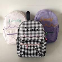 Японский harajuku мягкой сестра прекрасный вышивка рюкзак плед молодая девушка студент книга сумка прекрасные письма свежий мешок школы