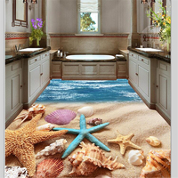 Beibehang Custom Floor Decoration Painting Summer Beach Shells 3D Living Room Shopping Mall 3d Flooring Tiles