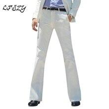 Новинка, мужские расклешенные брюки, строгие брюки, брюки с колокольчиком, белые брюки для танцев, строгие брюки для мужчин, размер 28-37