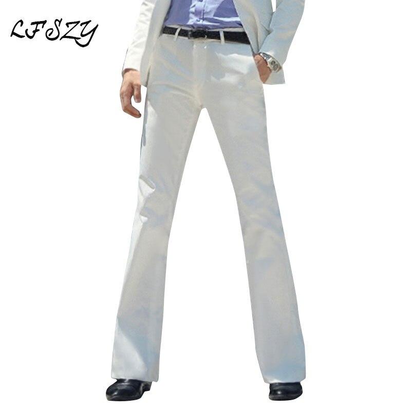 Pantalones Acampanados Para Hombre Pantalon Formal Parte Inferior De Campana Traje De Baile Blanco Talla 28 37 Novedad De 2020 Pantalones Informales Aliexpress