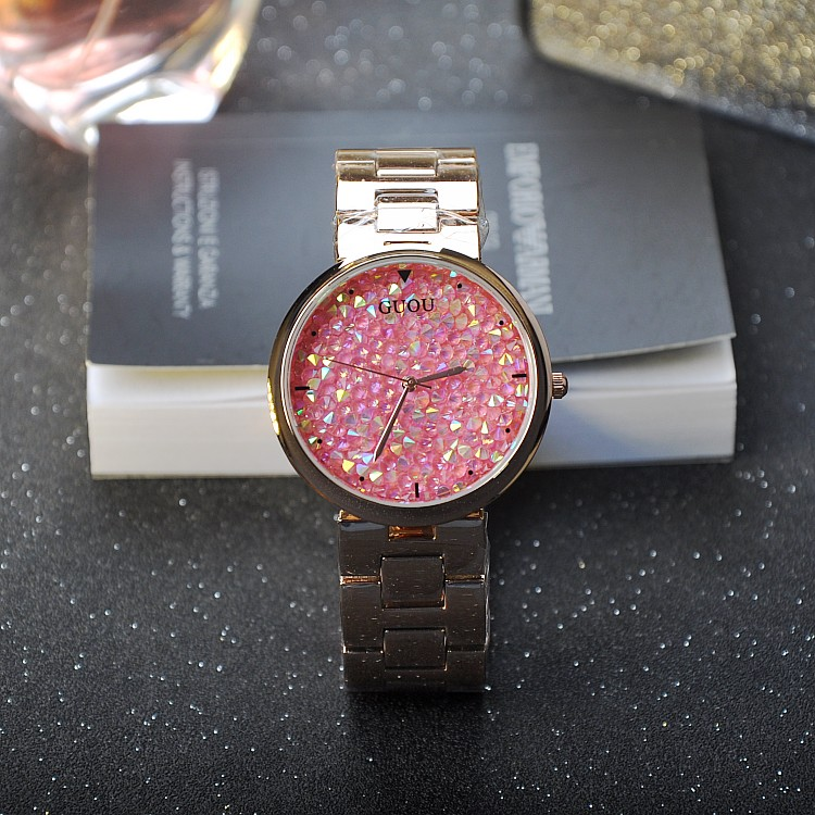 ФОТО New Women Luxury Full Pink Rhinostone Dial Quartz Watch Stainless Steel Ladies Wristwatch Female Sparkling Shining Watches OP001
