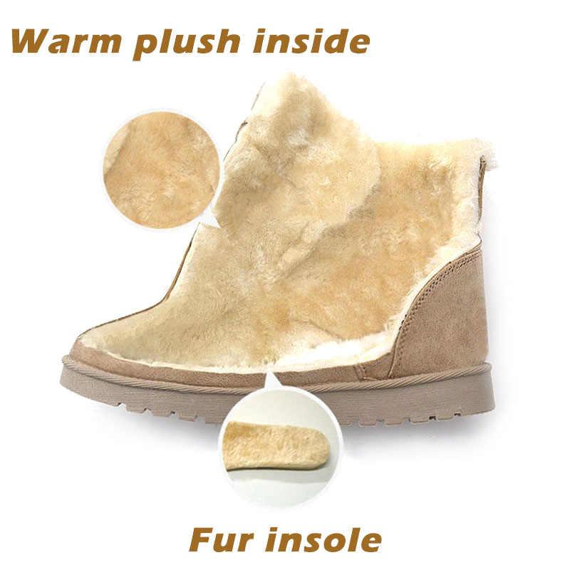 Bottes d'hiver femmes neige bottines femme chaud à lacets en caoutchouc chaussures daim plate-forme bottes en peluche semelle Botas Mujer Invierno 2019