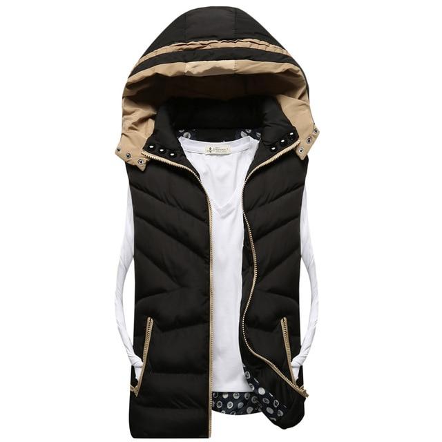 new autumn winter men solid color warm down cotton vest male outwear coat jacket waistcoat vestidos Y1104-77F