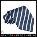 Free shipping Genuine Silk Classic Black White blue pink green Strip Woven Men's Tie Necktie formal occasion wear accessory