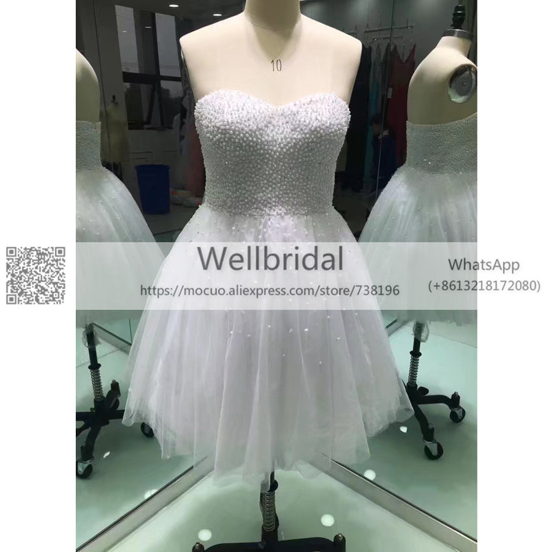 Elegant 2019 Short Prom Dresses With Pearls Beaded  Draped Tulle White Evening Dress Formal Women Prom Gown