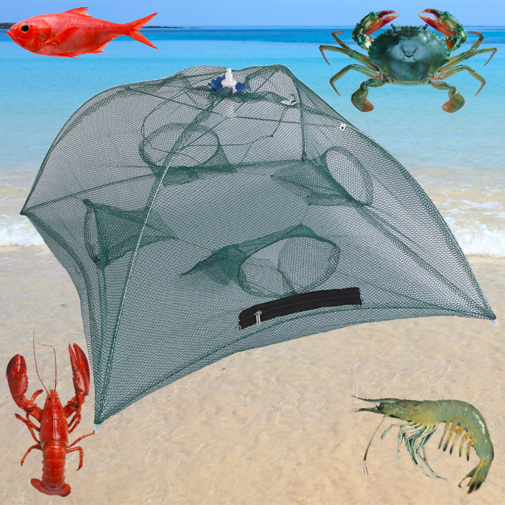 80cm 4 / 6 hole Nylon Foldable Fishing Bait Net Trap Cast Dip Cage Crab Fish Minnow Crawdad Shrimp Green Folding Catching Nets