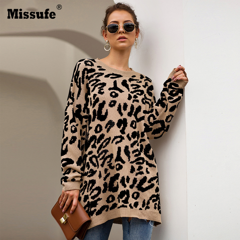 Missufe 11 Color O Neck Leopard Sweaters Women Autumn Winter Pullover Jumpers Female Knitted Chic Loose Warm Sweaters 2019 Mujer
