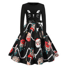 christmas dress Women Long Sleeve Christmas lovely Cats Bow Tie Notes Print Vintage Party mini Dresses robe noel kerst jurk(China)
