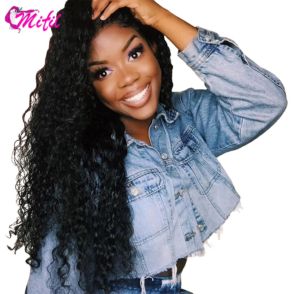 Mifil 13x4 Indian Kinky Curly Human Hair Wig Pre Plucked With Baby Hair Lace Front Wigs