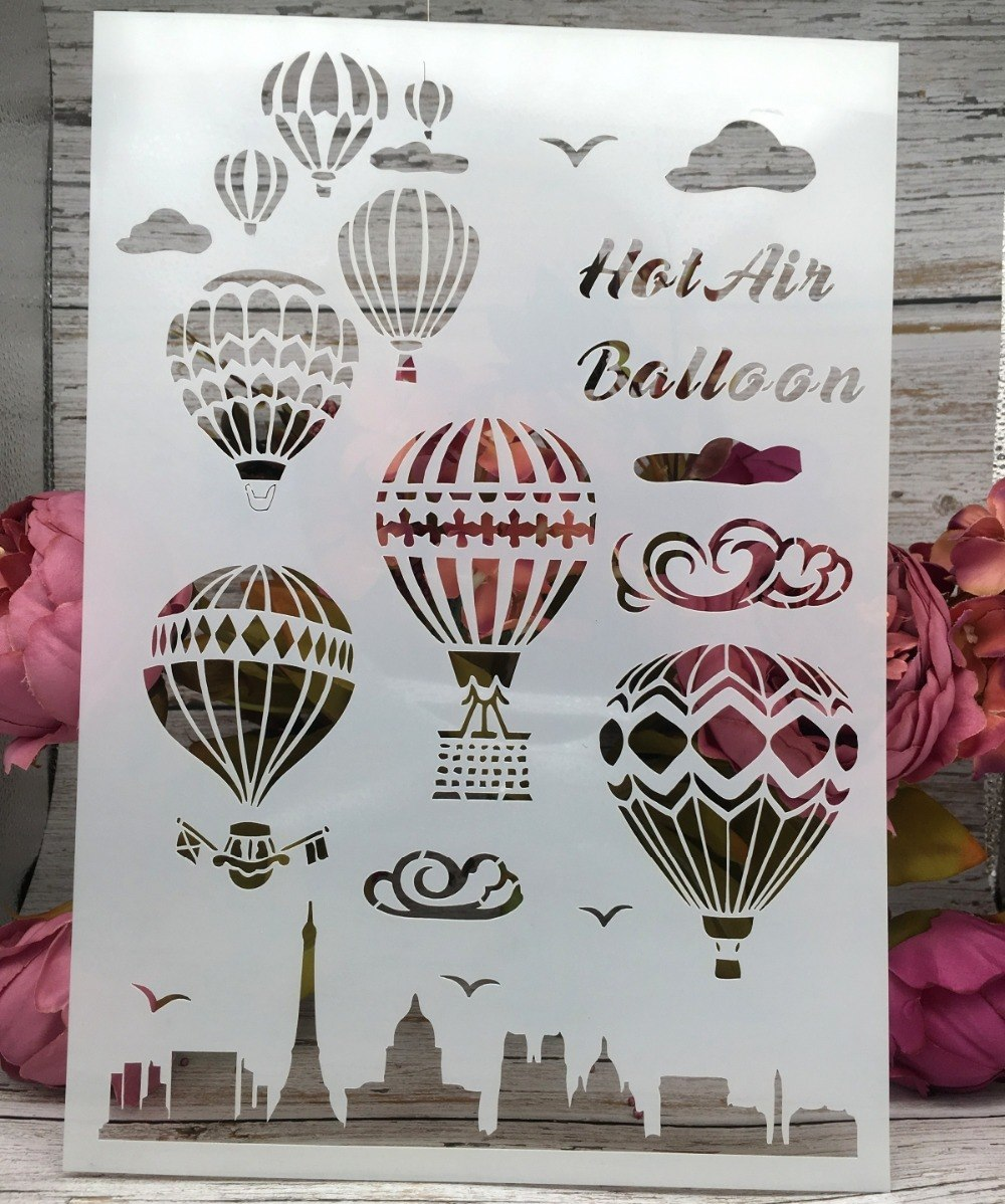 29*21cm New Hot Air Balloon Craft DIY Layering Stencils Wall Painting Scrapbook Coloring Embossing Album Card Template