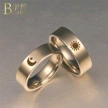 BOAKO Stainless Steel Rings For Women/Men Titanium Promise Couple Moon Sun Engagement Girl Gift Valentine Z5
