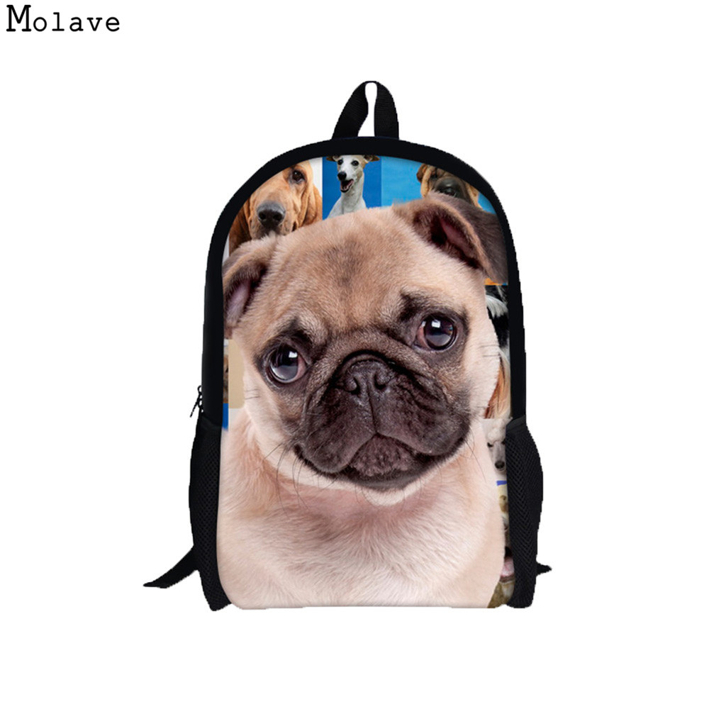 Girls Backpacks Preppy Stylish Fashion 3D Animal Dog Printing Backpack Rucksack Schoolbags College Shoulder Bags For Women May18