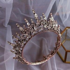 Image 3 - Barokke crystal wedding crown koningin bruids Tiara bruid hoofdband party accessoires diadeem huwelijk haar sieraden ornamenten