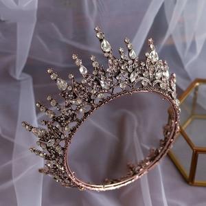 Image 3 - baroque crystal wedding crown queen bridal Tiaras bride headband party accessories diadem marriage hair jewelry ornaments