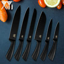 XYj 3Cr13Mov Stainless Steel Knives Japanese Slicing Chef Knives Santoku Meat Cleaver Cook Black Knife Kitchenware New Arrival(China)