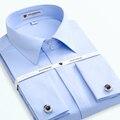 Botão Cuff francês dos homens Dos Homens Camisas de Vestido de Manga Longa Sólidos Camisas Masculino noivo Do Casamento Do Smoking Camisas Casuais (Botão de Punho aleatório)