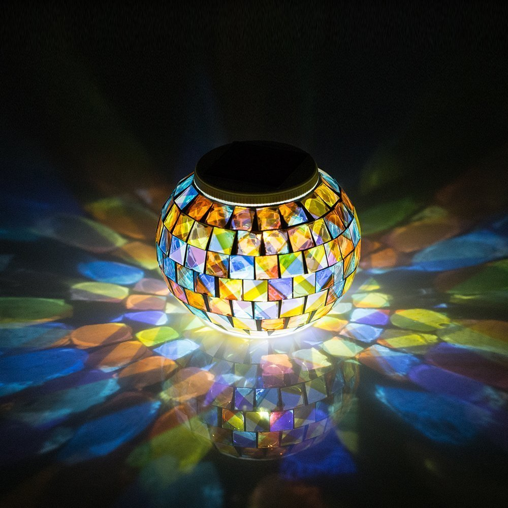 Aliexpress.com : Buy Solar Powered Mosaic Glass Ball Garden Lights, Color Changing Solar Table ...