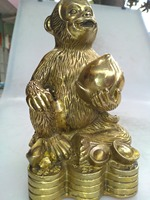Chinese hand carved brass monkey sculpture art collection