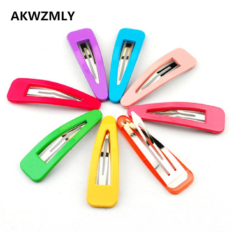 Korean Good Gift 10Pcs/lot Hair Clip Kids Hair Accessories Girls Rainbow Candy Color Hairpin Lovely Solid Resin 5cm Hairpins