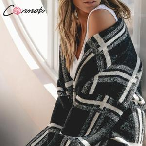 Image 3 - Conmoto Women Sweaters Cardigan Fashion Black Plaid Long Sleeves Sweater Casual High Street Knitted Jacket Female Chic Long Coat